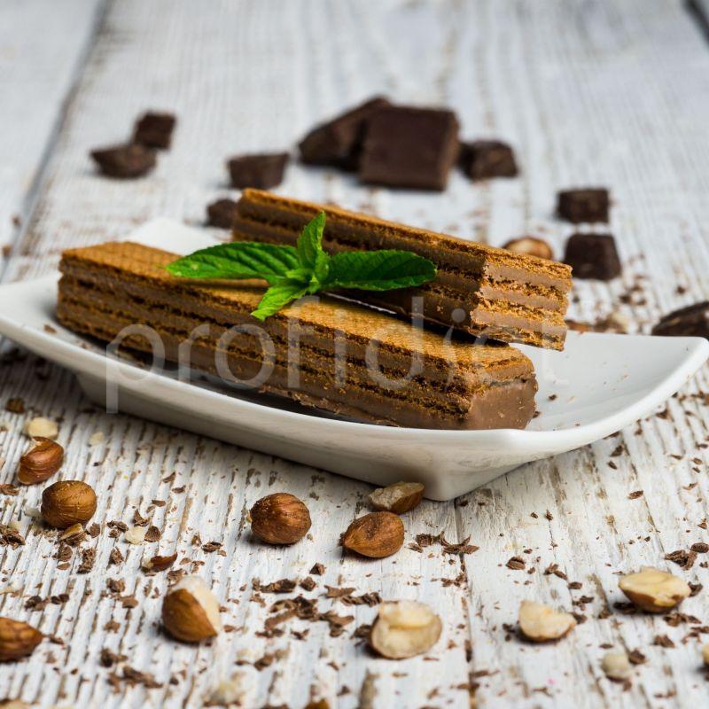 Vafle s príchuťou čokolády a lieskových orieškov